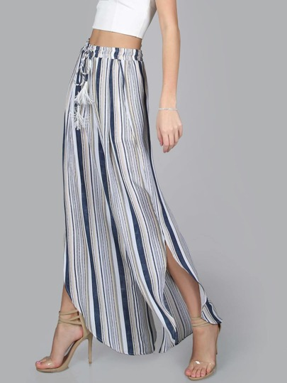 Tasseled Drawstring Curved Striped Slit Flow Pants