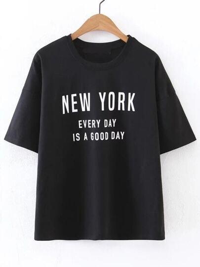 Black Letter Print Round Neck T-shirt
