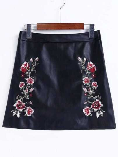 Black Flower Embroidery A Line PU Skirt