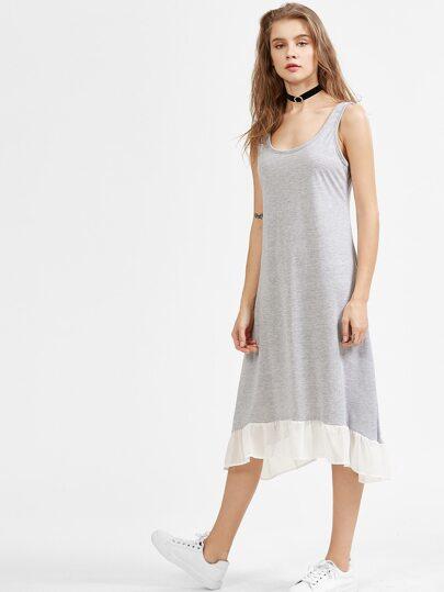 Heather Grey Contrast Ruffle Hem Tank Dress