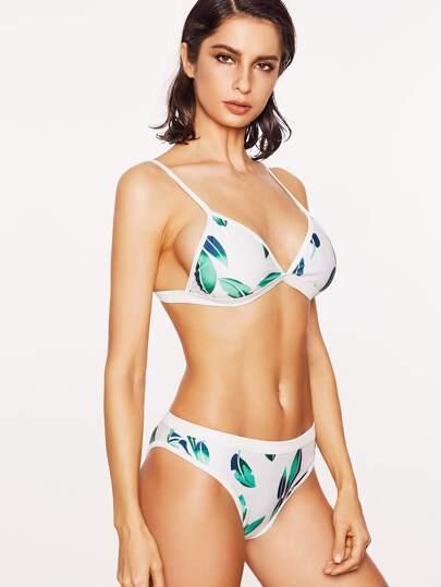White Leaf Print Triangle Bikini Set