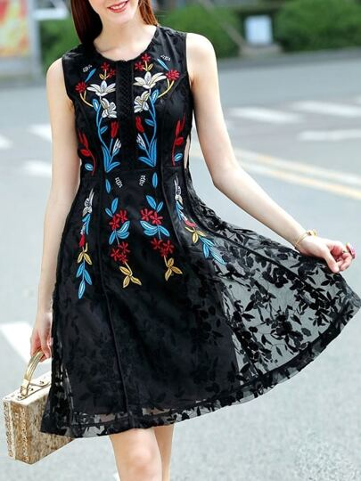Black Gauze Embroidered A-Line Dress