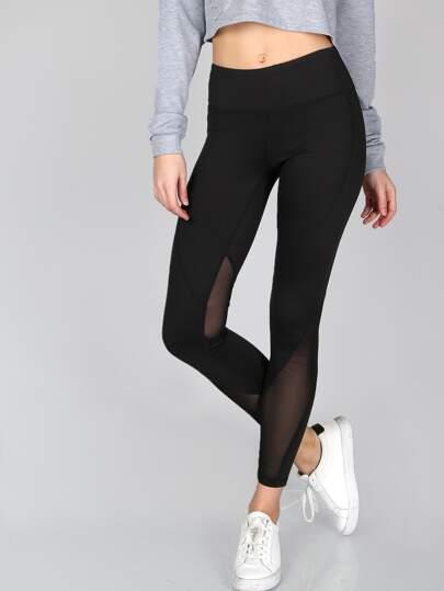 Thick Sheer Mesh Panel Leggings BLACK