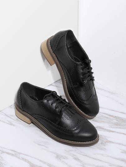 Schwarze schnüren sich oben PU-flache Schuhe