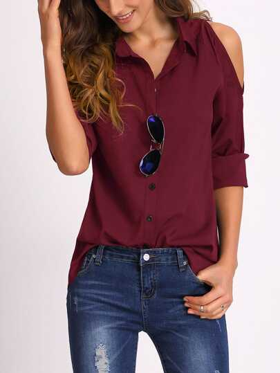 Open Shoulder Collared Shirt