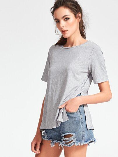 Camiseta con abertura lateral - gris