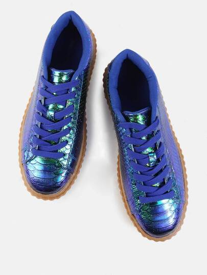 Mermaid Hologram Flatform Sneakers GREEN HOLOGRAM