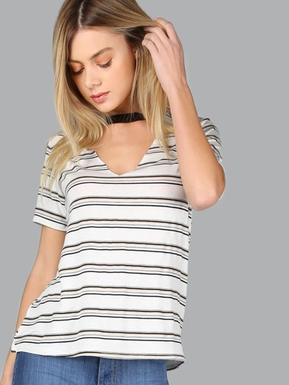 Short Sleeve Striped Tee IVORY MULTI