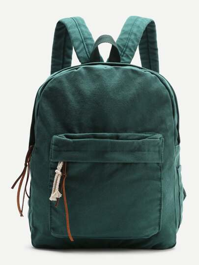 Distressed Zipper Front Canvas Backpack