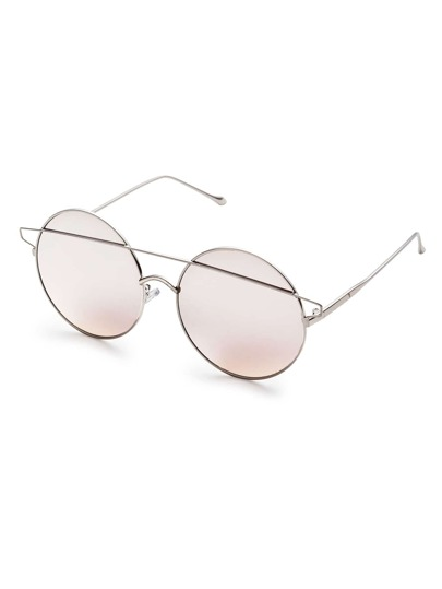 Silver Double Bridge Round Sunglasses