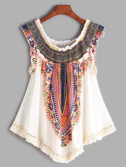 Beige Printed Boat Neck Fringe Hem Shirred Top