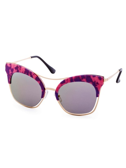 Purple And Gold Frame Double Bridge Cat Eye Sunglasses