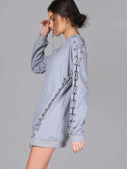 Laced Up Eyelet Tie Sweater GREY