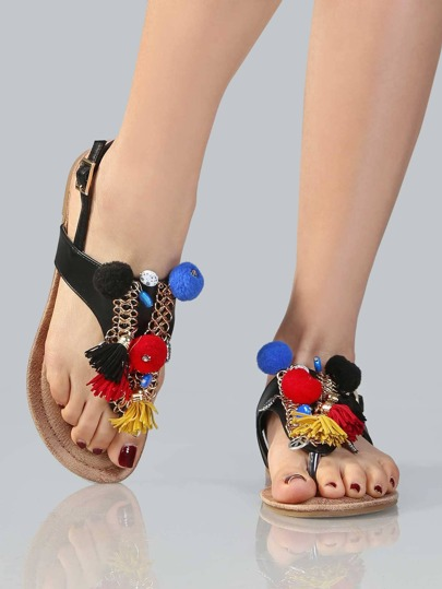 Pom Pom Chain Thong Sandals BLACK