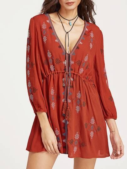 V-Ausschnitt Kleid mit Tunnelzug Stickerei - Orange