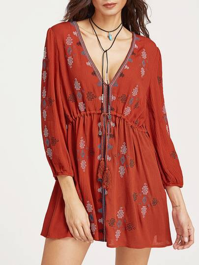 Plunge Neck Tasseled Drawstring Waist Embroidered Dress