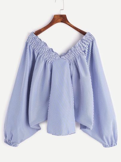 Blu a strisce verticale pipistrello maniche Top