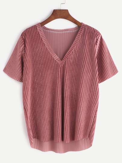 Pink V Neck Dip Hem Velvet T-shirt