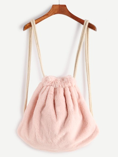 Pink Rope Strap Faux Fur Bucket Backpack