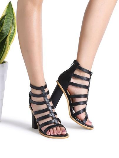 Sandalias de tacón grueso con aberturas y cremallera - negro