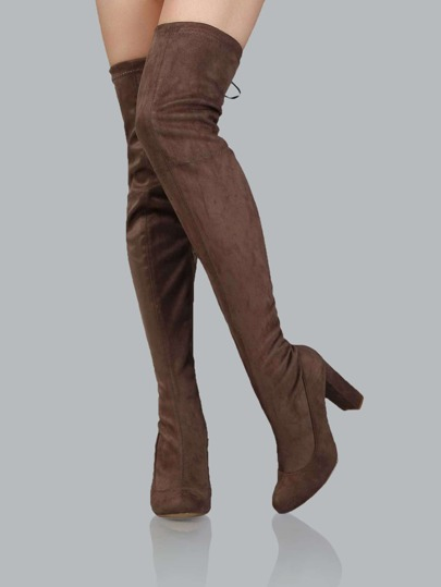 Chunky Heel Thigh High Boots TAUPE