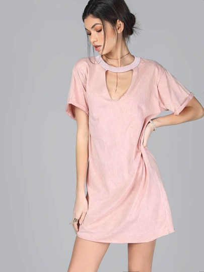 Cutout Neckline T-Shirt Dress PINK