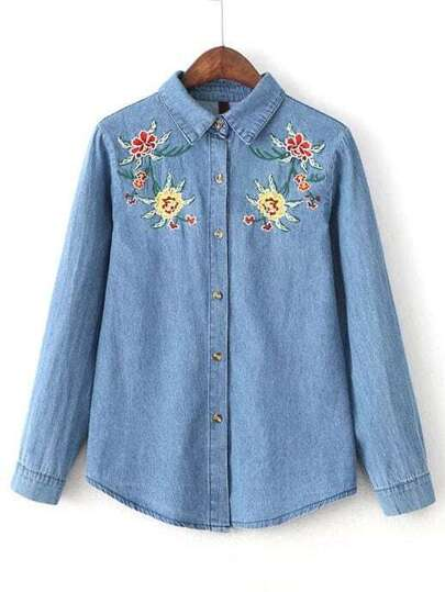 Blue Flower Embroidery Denim Blouse With Buttons