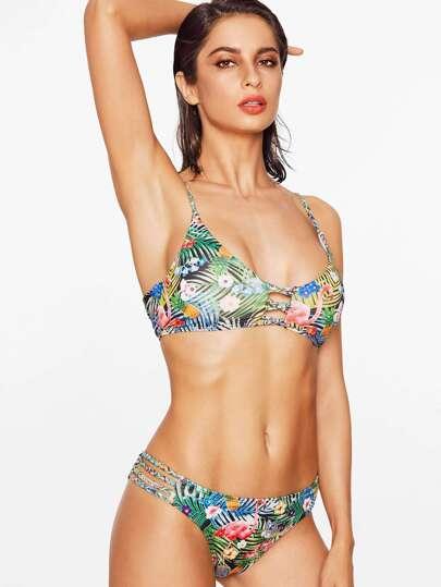 Green Tropical Print Braided Strap Bikini Set