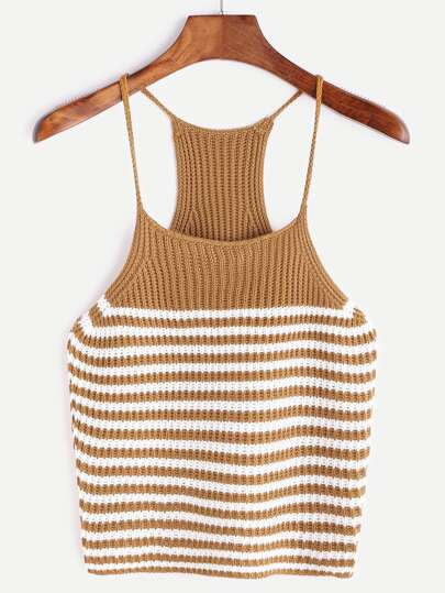 Camel Striped Racerback Knit Cami Top