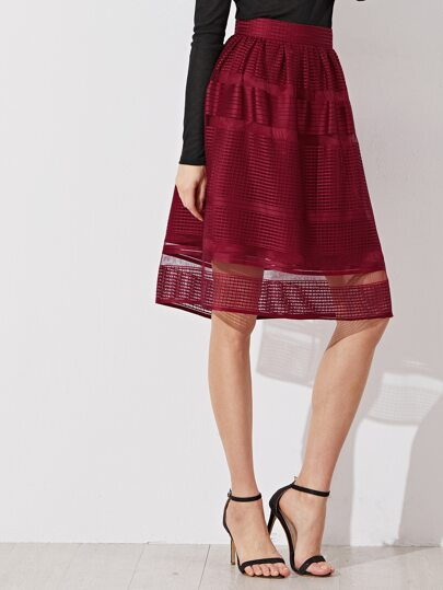 Burgundy Square Eyelet Volume Skirt