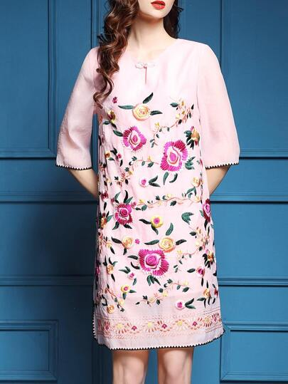 Pink Hollow Flowers Embroidered Shift Dress