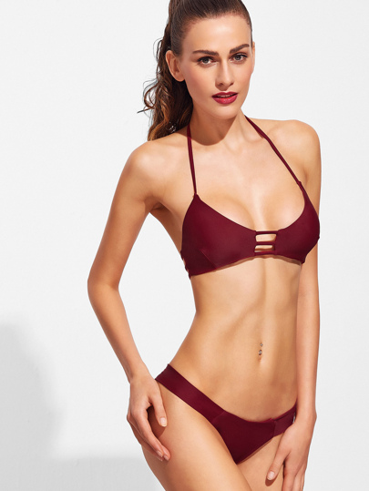 Burgundy Ladder Cutout Halter Bikini Set