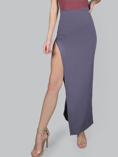 Open Slit Maxi Luxe Skirt CHARCOAL