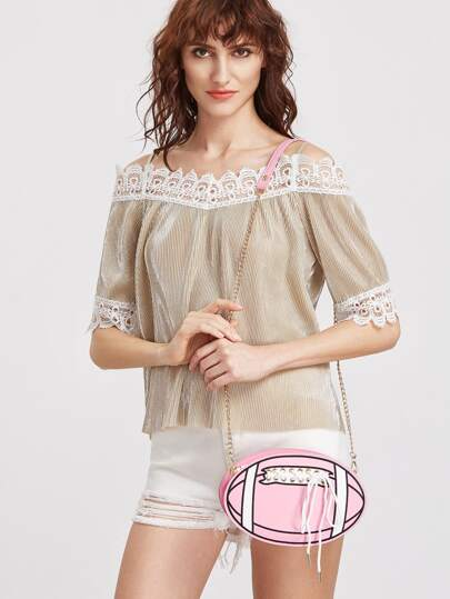 Pink Ball Shape Lace Up Chain Bag