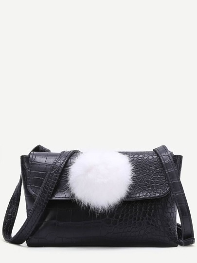 Black Crocodile Embossed PU Shoulder Bag With Pom Pom