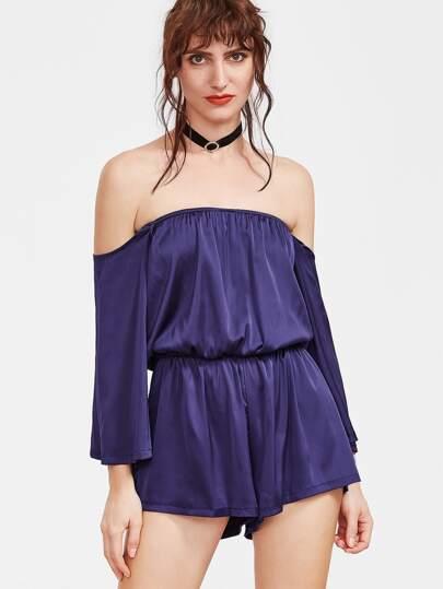 Синий модный комбинезон с открытыми плечами