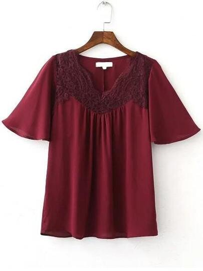 Burgundy Contrast Lace Bell Sleeve Blouse