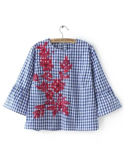 Gingham Contrast Floral Embroidery Blouse