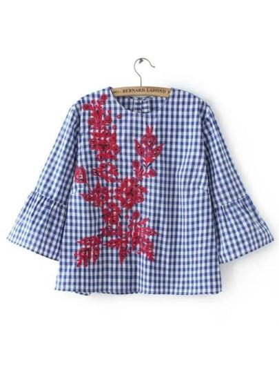 Blue Plaid Contrast Floral Embroidery Blouse