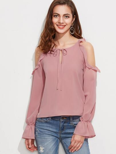 Open Shoulder Tie Neck Ruffle Trim Blouse