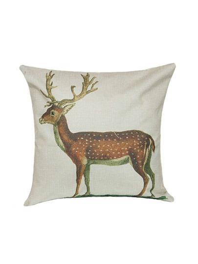 Funda de cojín de lino con estampado de ciervo sica - blanco
