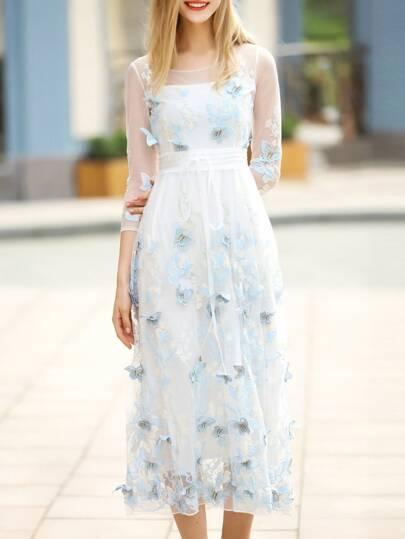Blue Butterfly Applique Gauze Long Dress