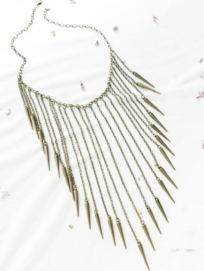 Bronze Rivet Fringe Statement Necklace