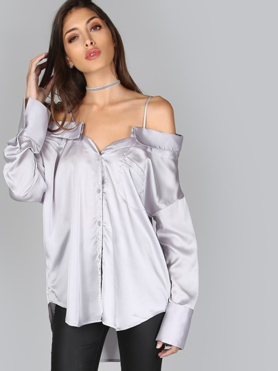 Cold Shoulder Button Up Top