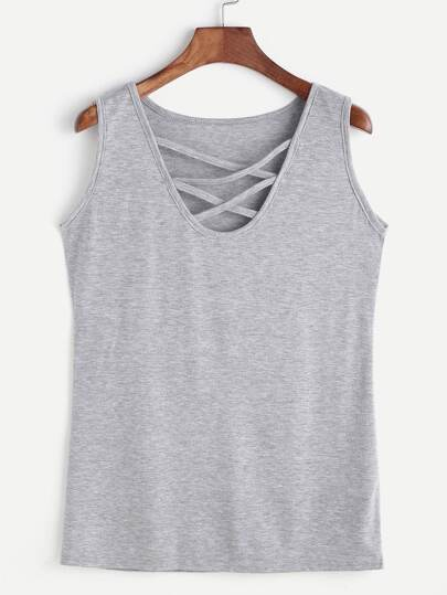 Heather Grey Lattice Front Tank Top