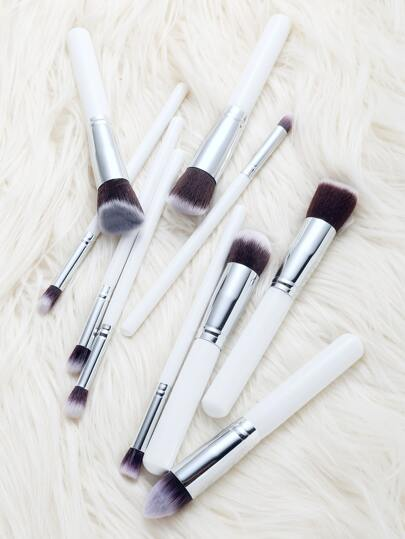 White Professional Makeup Brush Set 10PCS