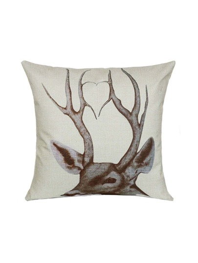 Funda de cojín de lino con estampado de asta de ciervo - blanco