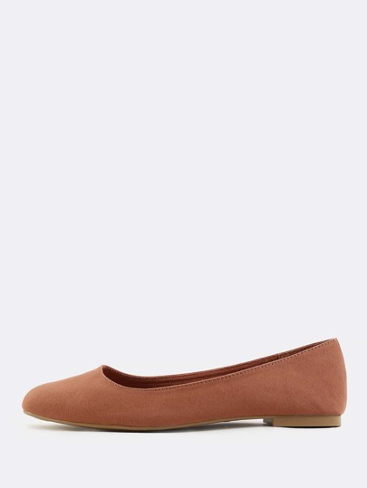 Faux Suede Square Toe Flats BRICK