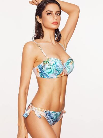 Printed Side Tie Bustier Bikini Set