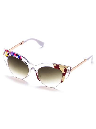 Transparent Frame Detail Cat Eye Sunglasses